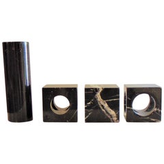 1970 Marquinia Black Marble Paperweights or Bookends and Vase for Sormani, Italy