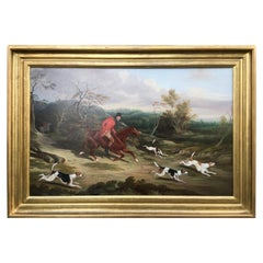 Badsworth Hunt Oil on Canvas in Period Frame