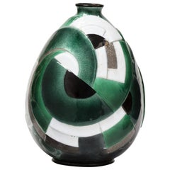 Camille Fauré, Ovoid Shaped Enamelled Copper Vase Green, Black, Grey, circa 1930