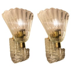 Pair of Sconces by Barovier & Toso, Murano, 1940s