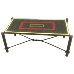 Jacques Adnet, Art Deco Coffee Table in Lacquered Metal, Tray Composed of Tiles