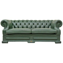 Chesterfield Sofa Leather Antique Vintage Couch English Chippendale Chesterfield