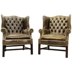 2 Chesterfield Armchair Wing Chair Antique Chair