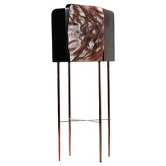 African Mahogany Tall Bedroom Cabinet with Copper Plated Steel Legs