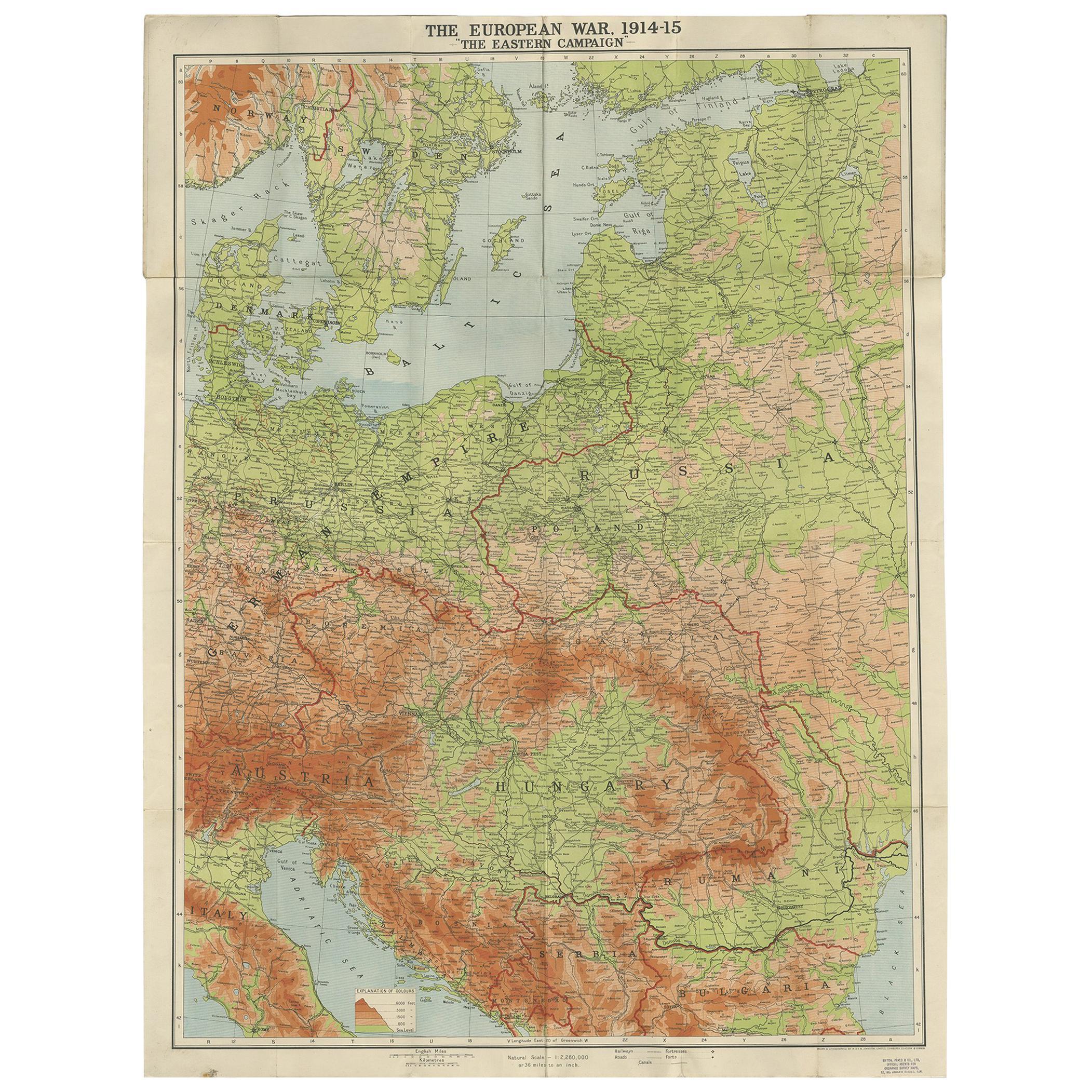 Antique European War Folding Map, 'circa 1915'