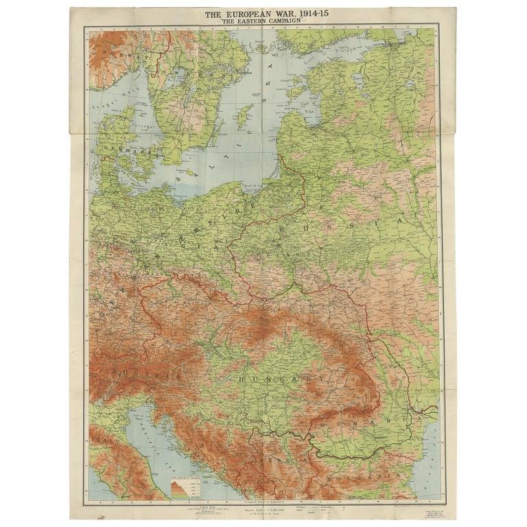 Antique European War Folding Map, 'circa 1915' For Sale