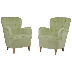 Super Luxurious Glam Pair of Swedish Club Chairs Attributed to Elias Svedberg