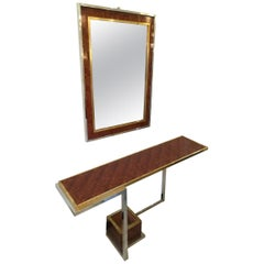 Console and Mirror, 1970, Bamboo, Brass and Chromium Steel