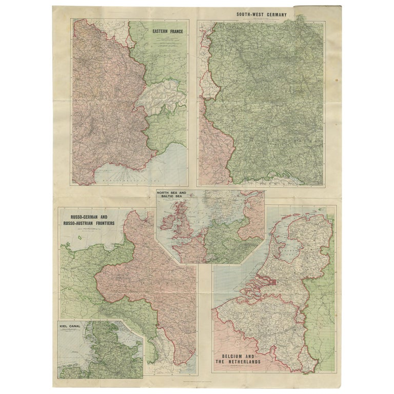 Antique War Map by Johnston, circa 1914 For Sale