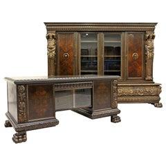 Herrenzimmer Schrank Bücherregal antiken Schreibtisch Büromöbel