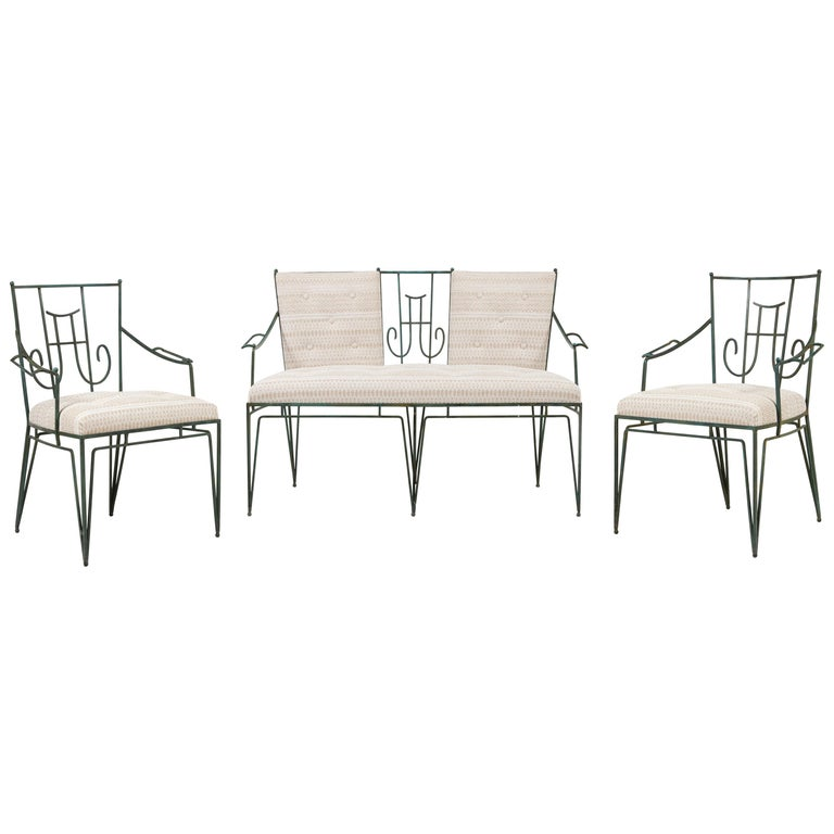 Marc du Plantier, a Bench and Two Armchairs in Wrought Iron, circa 1936 For Sale