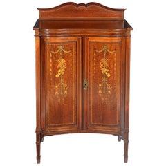 Edwardian Mahogany and Satinwood Inlaid Music Cabinet
