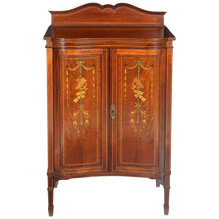 Edwardian Mahogany and Satinwood Inlaid Music Cabinet For Sale