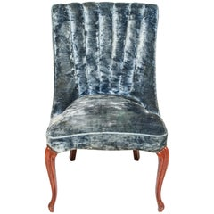 Art Deco Channel-Back Side Chair in Blue Velvet