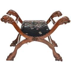 Savonarola Style Carved Lion Head X-Form Chair
