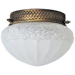 Mid-Century French Art Deco Frosted Glass Ceiling Light Fixture, Flush Mount
