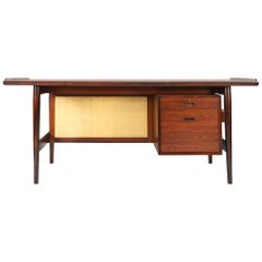 Arne Vodder Desk in Rosewood Model 205 for Sibast Møbler with Seagrass