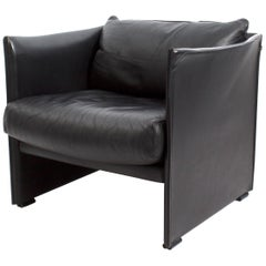 Black Leather Armchair by Vico Magistretti for Cassina