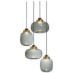 'LEGIER' LED Contemporary Chandelier with Murano Inspired Glass Lamp Shades