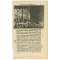 Antique Print of a Ritual on Formosa by Valentijn, 1726