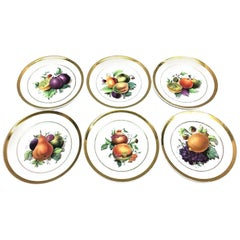19th Century Hand Painted Fruits Motif Plates, Set of Six, 1860s Thuringia
