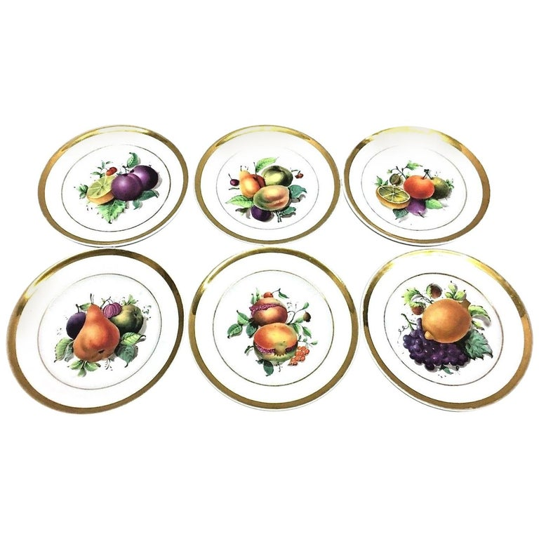19th Century Hand Painted Fruits Motif Plates, Set of Six, 1860s Thuringia For Sale