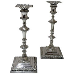 19th Century Antique Victorian Sterling Silver Pair of Candlesticks Sheffield