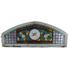 Antique Aesthetic Movement Leaded and Jeweled Mosaic Stained Glass Window