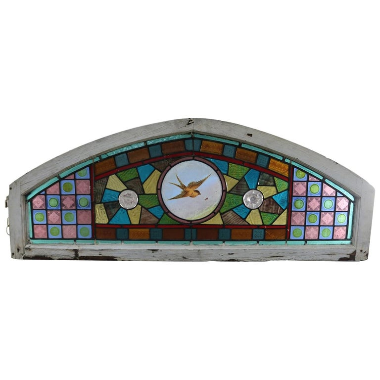 Antique Aesthetic Movement Leaded and Jeweled Mosaic Stained Glass Window For Sale