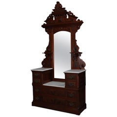 Antique Renaissance Revival Carved Walnut, Burl and Marble Mirrored Dresser