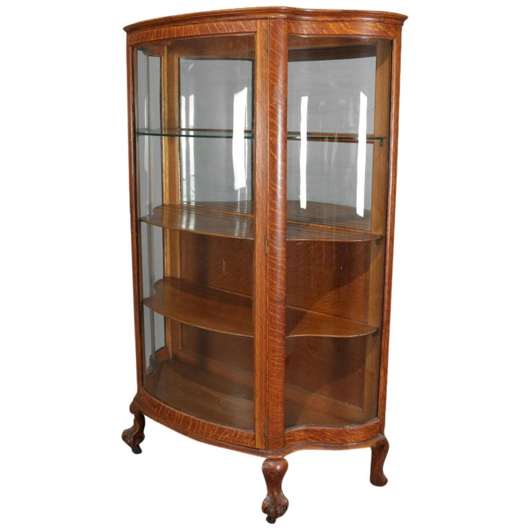 Antique China Hutch >> Antique Carved Oak Serpentine Rj Horner Mirrored China Cabinet