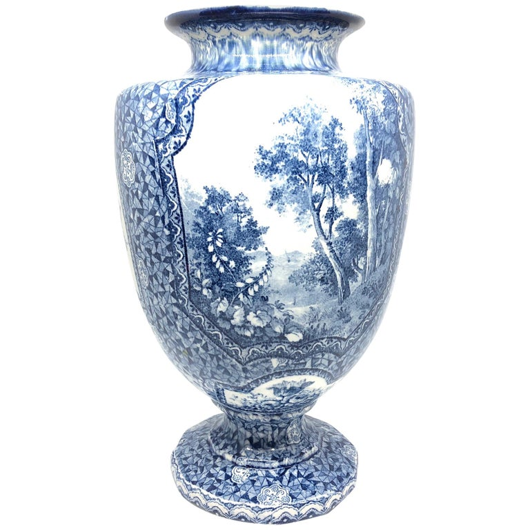 Antique German Large Footed Transferware Scenic Vase, 1890s 1