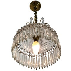 Baccarat Stamped, Crystal Lantern or Pendant Light, circa 1950, Made in France