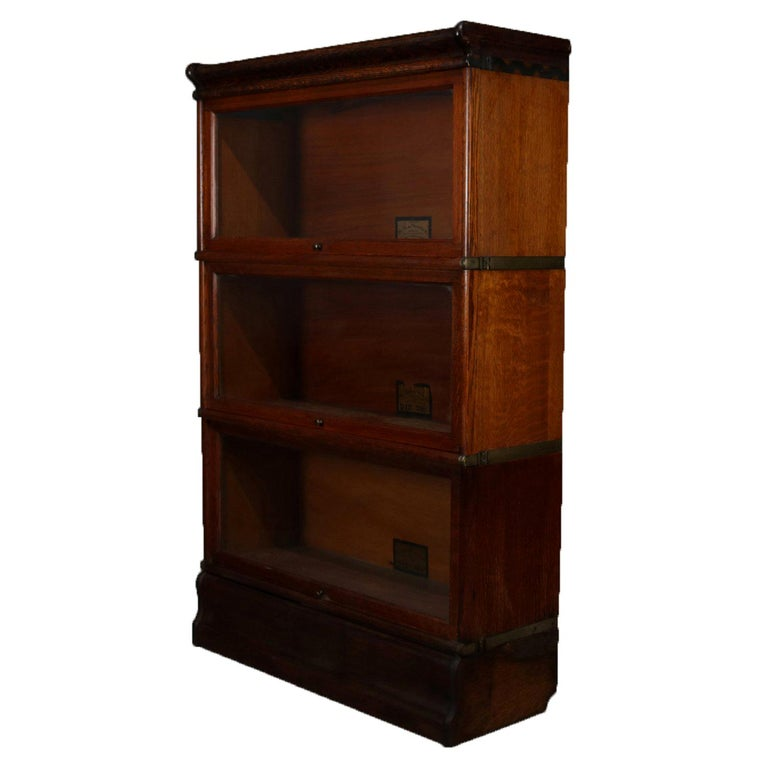 Antique Arts & Crafts Quarter Sawn Oak Globe-Wernicke Barrister Bookcase For Sale