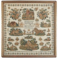 "Antique European Sampler ""Beset with Snares...."" from Strong Museum, NY"