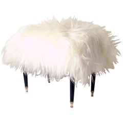 Italian Midcentury White Long Hair Iceland Sheep Bench Stool, 1950s