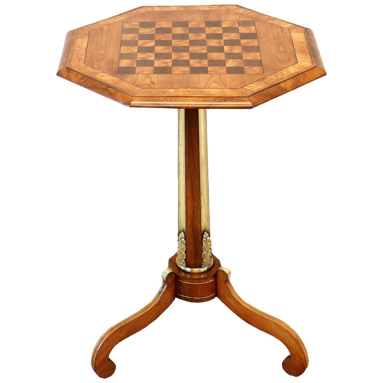 Regency English Antique Chess Top Occasional Table For Sale