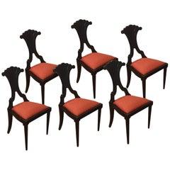 Set of Six Late 19th Century Italian Bidermeier Chairs in Solid Black Wood