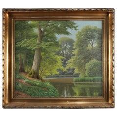 Vintage Oil on Canvas Landscape Painting, River Scene, Signed K. Drews