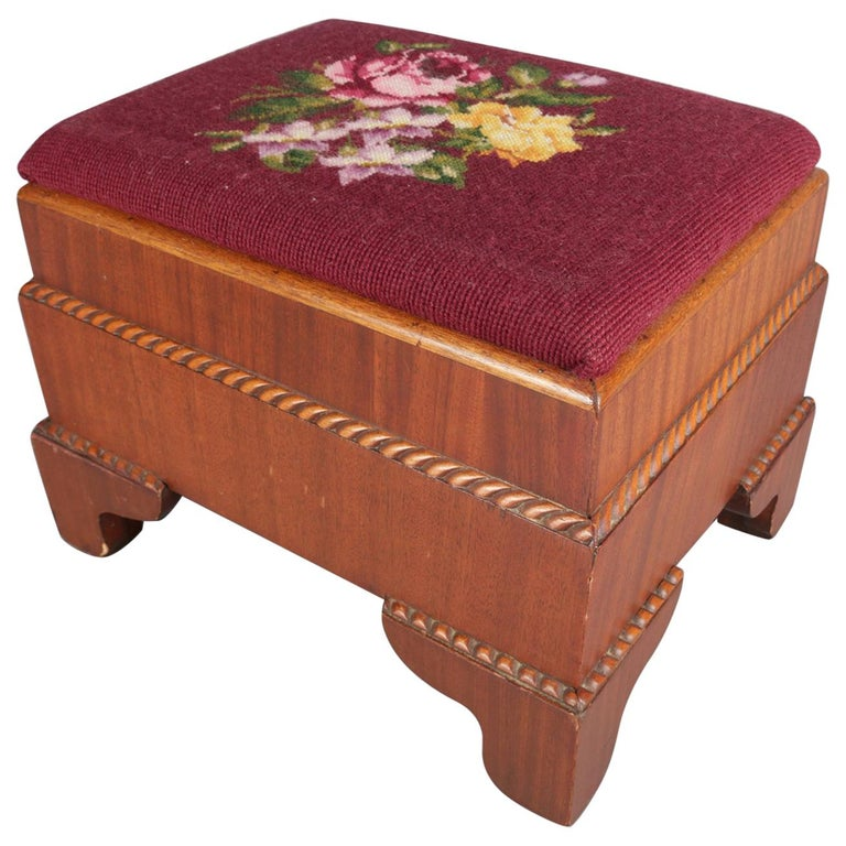 Antique American Empire Carved Mahogany and Needlepoint Footstool, 20th Century For Sale
