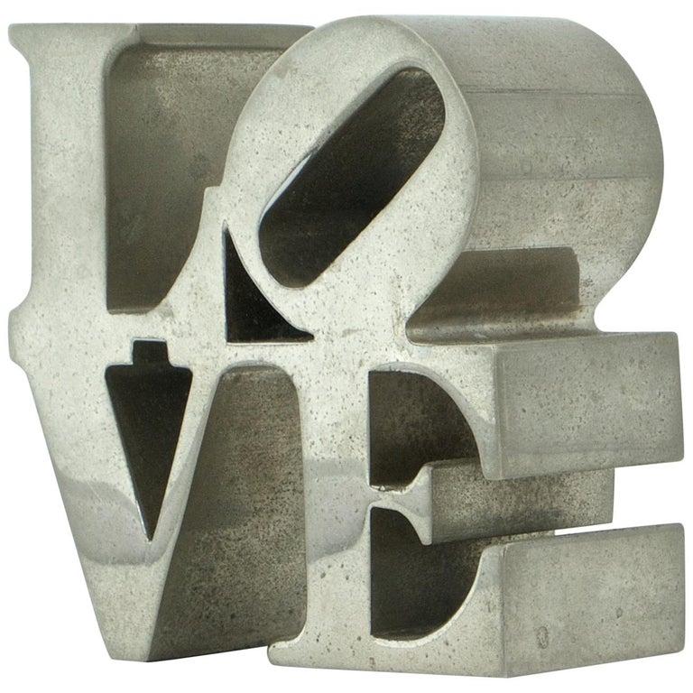 1970s Nickel LOVE Paperweight Sculpture Vintage Pop Art Warhol Indiana Trilove For Sale