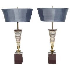Pair of American Midcentury Modern Ceramic Table Lamps 1960s, Rembrandt Lamp Co.