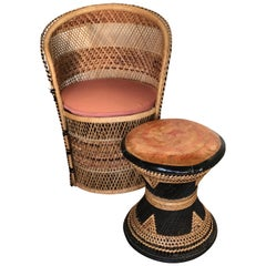 Authentic Woven Wicker Midcentury Set Round Armchair and Stool Leather Seat