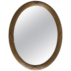 Neoclassical Large Elegant Cross Details Oval Mirror, Midcentury, France