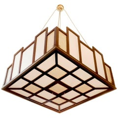 Arts & Crafts Geometrical Wood Pendant Lamp