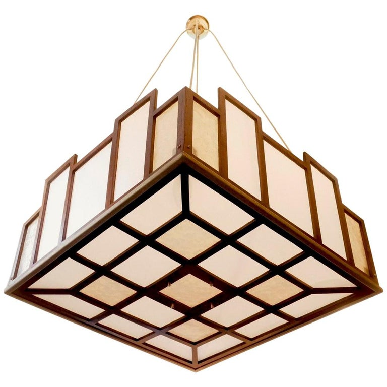 Arts & Crafts Geometrical Wood Pendant Lamp For Sale