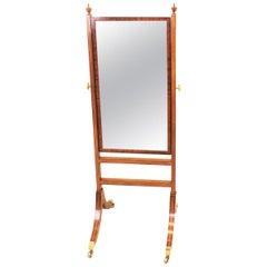 English Georgian Small Mahogany Cheval Dressing Mirror