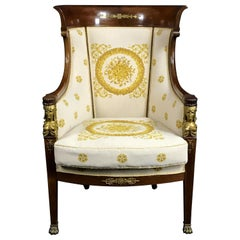 19th Century Mahogany and Gilt Bronze Armchair
