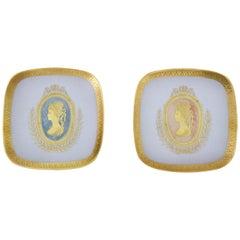Ein Paar Teller aus Porzellan, weißes Gold 24 Karat, Mid-Century Modern, Italien, 1950