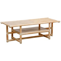 McGuire Cerused Bamboo and Wood Coffee Table